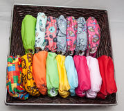 Cloth diapers in the basket Stock Images