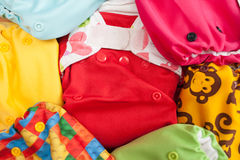 Cloth diapers different colors Stock Photos