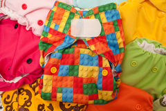 Cloth diapers different colors Royalty Free Stock Photography
