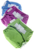 Cloth Diapers in Green, Purple and Blue royalty free stock photography