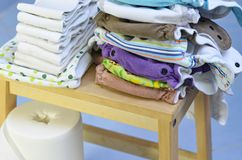 Cloth diapers, liners and changing pad Royalty Free Stock Image