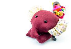 Cloth doll elephant. On white background Stock Photo