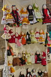 Traditional colored handmade cloth dolls, specific from Romania, in Romanian national costume. Traditional colored handmade cloth dolls, specific from Romania Stock Photo