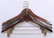 Cloth drying hanger with metal clipper Stock Images