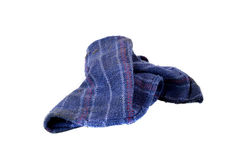 Cloth duster. Old used blue cloth duster on white background Royalty Free Stock Image