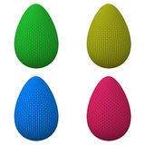 Cloth Easter eggs, 3d Stock Photo