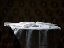 Cloth on the empty table Stock Photos