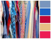 Cloth fabric as a vibrant background image with palette color sw Royalty Free Stock Images