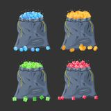 Cloth fabric money bag full of various diamonds. Sack with gems. Game interface elements. Donation, microtransacton. Vector illustration in flat style Royalty Free Stock Image
