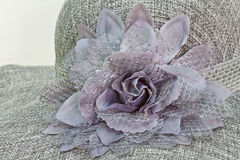 Cloth flower on lady fashion hat Royalty Free Stock Photos