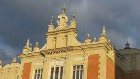 Cloth Hall Building in Krakow. Detail of roof of the Cloth Hall building, which dates to the Renaissance, from Krakow, Poland stock video footage