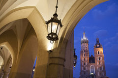 Cloth Hall and Lamp with Mariacka Basilica Church; Krakow Royalty Free Stock Image