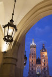 Cloth Hall and Lamp with Mariacka Basilica Church; Krakow Royalty Free Stock Photos