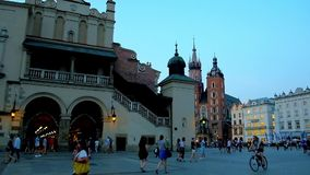 The Cloth Hall in Main Market Square, Krakow, Poland stock video