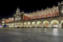 The Cloth Hall during the night in Krakow, Lesser Poland, Stock Image