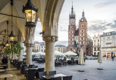 Cloth Hall and St. Mary`s Basilica on Market Square in Krakow, P. Cloth Hall and Saint Mary`s Basilica on main Market Square in Krakow, Poland Royalty Free Stock Images