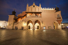 Cloth Hall Side View at Night in Krakow Royalty Free Stock Photography