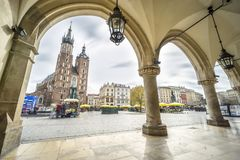 Cloth Hall and St. Mary`s Basilica on Market Square in Krakow, P Stock Photo