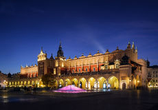 Cloth Hall Sukiennice building after sunset in Krakow city Royalty Free Stock Photography