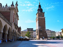 The Cloth Hall and Town Hall Tower in the Market Square in Krakow Poland Royalty Free Stock Photos