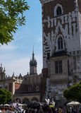 The Cloth Hall and Town Hall Tower in the Market Square in Krakow Poland Stock Image
