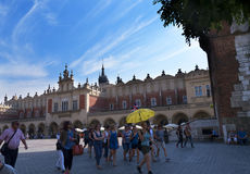 The Cloth Hall and Town Hall Tower in the Market Square in Krakow Poland Royalty Free Stock Photo