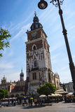 The Cloth Hall and Town Hall Tower in the Market Square in Krakow Poland Royalty Free Stock Images