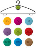 Cloth hanger with buttons showing sizes Royalty Free Stock Photography