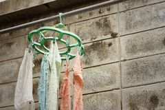 Cloth Hanger dry out outside the house. Royalty Free Stock Image