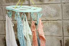 Cloth Hanger dry out outside the house. Stock Photos
