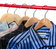 Cloth Hangers with Shirts Stock Images
