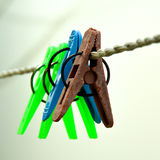 Cloth Hanging Clips Stock Photos