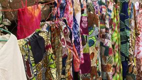 Cloth hanging on line Caribbean. Traditional Caribbean clothes hanging on line