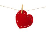 Cloth heart on clothesline Stock Photography
