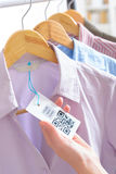 Cloth label with QR code Stock Image