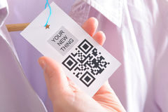 Cloth label with QR code Royalty Free Stock Photography