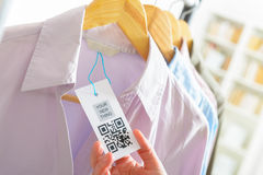 Cloth label with QR code Royalty Free Stock Images