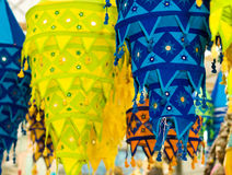 Cloth Lanterns. Colorful tapering tasseled cloth lanterns use in decorations for the Hindu festival of Deepavali or Diwali, or popularly as the Festival of Stock Photo