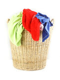 Cloth in laundry  wicker basket Stock Images