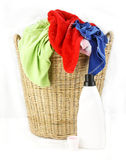 Cloth in laundry  wicker basket Stock Image