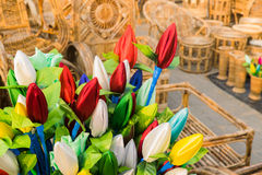 Cloth made Tulip buds and Cane furnitures Royalty Free Stock Images