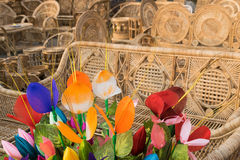 Cloth made Tulip buds and Cane furnitures Royalty Free Stock Image