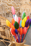 Cloth made Tulip buds and Cane furnitures Stock Photos