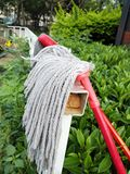 Cloth mopping tool. Airing on the railing Stock Images
