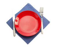 Cloth napkin and plate on white Royalty Free Stock Photo