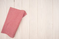 Cloth napkin. On white wooden background Royalty Free Stock Photos