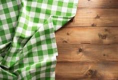 Cloth napkin on wood. En background stock photos