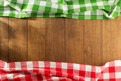 Cloth napkin on wood Stock Images