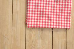 Cloth napkin on wooden table, high angle view. Cloth napkin on wooden table Royalty Free Stock Photos