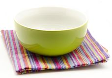 Cloth napkins and kitchen bowl Stock Photos